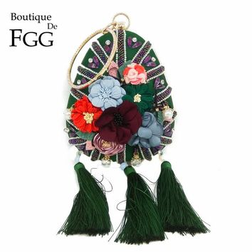 Boutique De FGG Graceful Women Tassel Flower Evening Clutch Bag Wedding Party Bridal Beaded Crystal Wristlets Handbag Purse