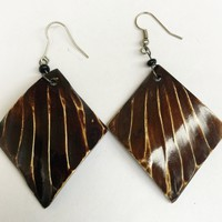 Diamond Shaped Cowhorn African Earrings (Natural Brown) By Doorstoafrica