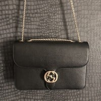 Women's Gucci GG Marmont Black Leather Bag