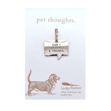 Can I Nap Here? K Thanks. Thought Bubble Dog Collar Tag by Lucky Feather