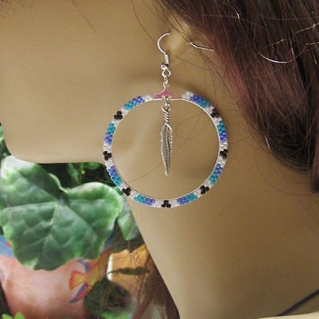 Silver Beaded Hoop Earrings With Turquoise, Powder Blue, White, and Black Glass Seed Beads and Silver Feather Dangle/Bohemian/Tribal