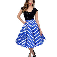 Hell Bunny 1950s Style Navy Blue & White Dotted Mariam Swing Skirt