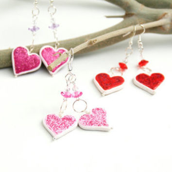 Heart Dangle Earrings, Valentine's Day Handmade Polymer Clay