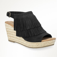 Minnetonka Ashley Black Wedge Sandals