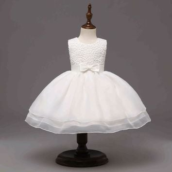 New White Princess Baby Girl Dress for Birthday Wedding Baptism Dress for Newborn Toddler Dress Age Below 2 Years Old