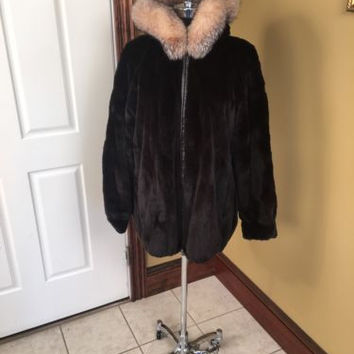 FURS BY TALIDIS DARK BROWN SHEARED MINK REVERSIBLE TO LEATHER FUR COAT JACKET LG