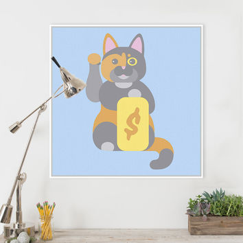 Kawaii Japanese Maneki Neko Cat Modern Canvas A4 Large Art Print Poster Cartoon Wall Picture Kids Home Decor Painting No Frame
