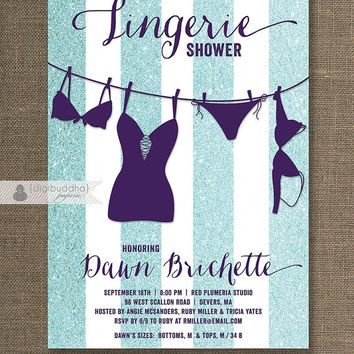 Purple & Blue Lingerie Shower Invitation Aqua Glitter Stripes Modern Bridal Personal Plum Purple Tiffany Blue DIY Digital or Printed - Dawn