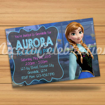 Anna Frozen Chalk Design Invitation - Digital File
