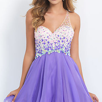 One Shoulder Short Sweetheart Blush Homecoming Dress