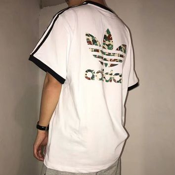 ADIDAS Clover 2018 summer new camouflage big logo sports short sleeve t-shirt F-AA-XDD White