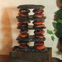 Slate and Stone Tower Tabletop Fountain