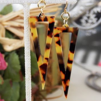 Geometric Tortoise Acrylic Triangle Earrings