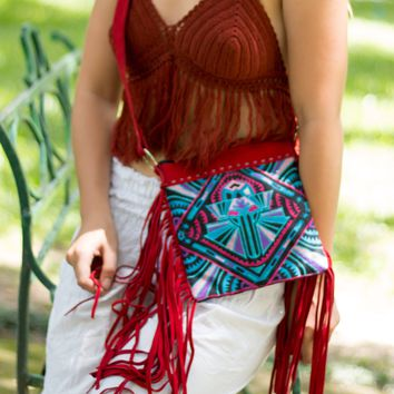"""Lawan Tribal""  - Red Crossbody Bag"