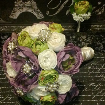 Mint Ivory Lavender Ranunculus Bouquet Brooch Wedding Bouquet Set