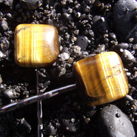 Tiger Squared - Tiger's Eye Stone Bobby Pin Pair