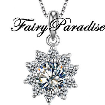 1 Ct (6.5 mm) Round Cut lab made Diamond Solitaire Flower Pendant, Sunflower style, on 45cm 925 silver necklace with gift box- birthday gift
