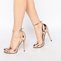 Lost Ink Raula Rose Gold Two Part Heeled Sandals at asos.com