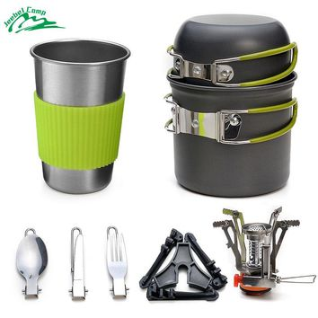 Jeebel Camping Cookware Stove Set Backpacking Outdoor Camping Hiking Picnic Burners Knife Spoon Kit Carabiner Canister Gas
