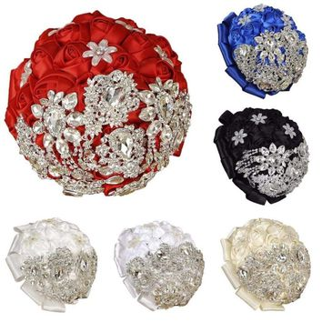 Luxury Western Style Bride Artificial Rhinestone Rose Silk Flowers Beautiful Handmade Wedding Bouquet