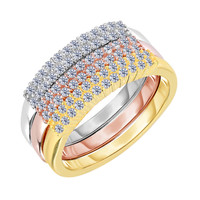 Sterling Silver Rose Yellow And Rhodium Plating Stackable Triple Set Bands With Cz Stones- 2.5 mm Width Each