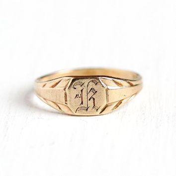 K Signet Ring - Art Deco 10k Rosy Yellow Gold Letter K Baby Band - 1920s Size 3/4 Initial Monogrammed Personalized Midi Knuckle Fine Jewelry