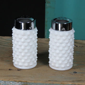Hobnail Milk Glass Salt & Pepper Shakers • Vintage Circa 1950s • White Glass Shakers • Cottage Decor