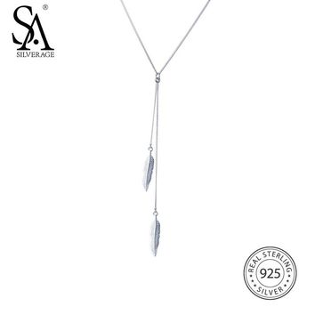 SA SILVERAGE 2017 New Women Feather Tassel Necklace Real 925 Sterling Silver Necklaces Fine Jewelry Wedding Pendants For Women
