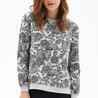 FOREVER 21 Heathered Paisley Sweatshirt Heather Grey/Black