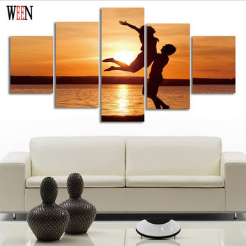 Romantic Lovers Wall Pictures For Living Room 5 piece painting canvas art Home decor Modern poster canvas No Frame HD Printed