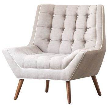 Oxford Fabric Tufted Accent Chair Putty