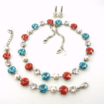 GYPSY LUMINISTA Swarovski crystal jewelry set, 12/8 mm padparadscha pearls and turquoise, Siggy Gypsy collection