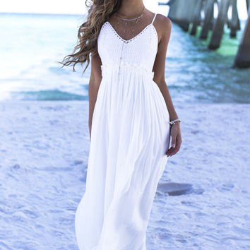In A Sunshine Sate Of Mind Ivory Crochet Maxi Dress