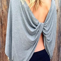 Grey Open Back Cross Back Round Neck Dolman Sleeve Oversized Casual T-Shirt