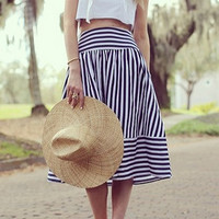 Blue Striped Midi Skirt
