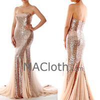 Mermaid Strapless Sweetheart Rose Gold Sequin Evening / Prom Gown with Court Train