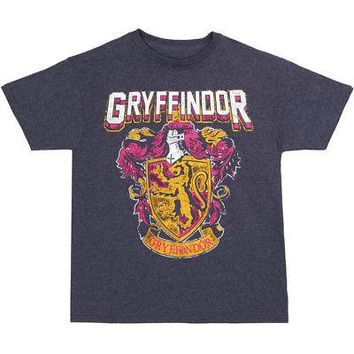 Harry Potter Gryffindor House Crest Distressed Youth Boys T-shirt - Navy