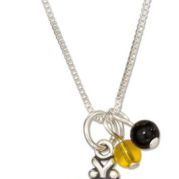 """Sterling Silver 18"""" Bumble Bee Pendant Necklace With Black And Yellow Beads"""