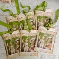Religious Gift Tags  Virgin Mary Child Jesus Tags Seam Binding Ribbon Gift Tags Set 6