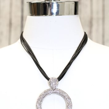 Multi Rope with Open Rhinestone Circle Necklace