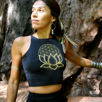 FLOWER of LIFE Dotwork LOTUS Fitted Crop Tank
