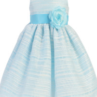 Light Blue Striped Organza Overlay Easter Spring Dress w Satin Sash  3M to Girls 10