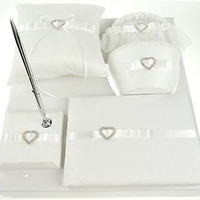 Premium Wedding Bridal Shower Sets Item, Heart Rhinestone & Satin (5 piece set), White, CLOSEOUT
