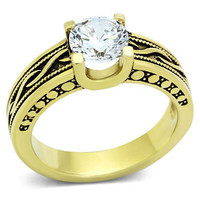 Antique Finish Ion Gold Plating Stainless Steel Engagement Ring