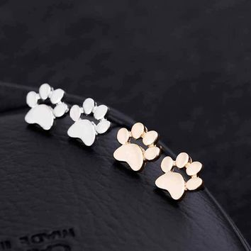 Gold and Silver plated Fashion Cute Paw Print Earrings