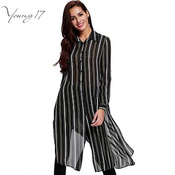 Young17 Women long trench coats black striped chiffon fall long trench ladies streetwear female thin trench coat Single Breasted
