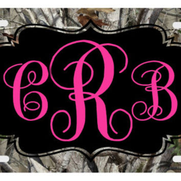 Personalized License Plate , Camo Monogram, Hot Pink,  Monogrammed License Plate,  Auto Tag, Car Tag
