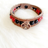 Triskelion Leather Cuff Bracelet - Black and Red, Handmade, Unisex, Beaded, Hand Sewn, Leather Bracelet, Copper, Triskel, Celtic, BDSM, Poly