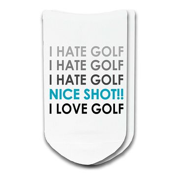 Custom Funny Golf Socks: I Hate Golf / I Love Golf No-Show Socks by Sockprints - Unisex White Socks - SMALL / MEDIUM / LARGE - Eco-friendly - 1 pair
