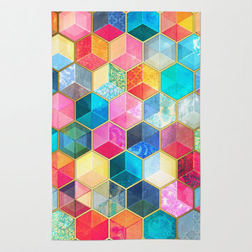 Crystal Bohemian Honeycomb Cubes - colorful hexagon pattern Rug by Micklyn